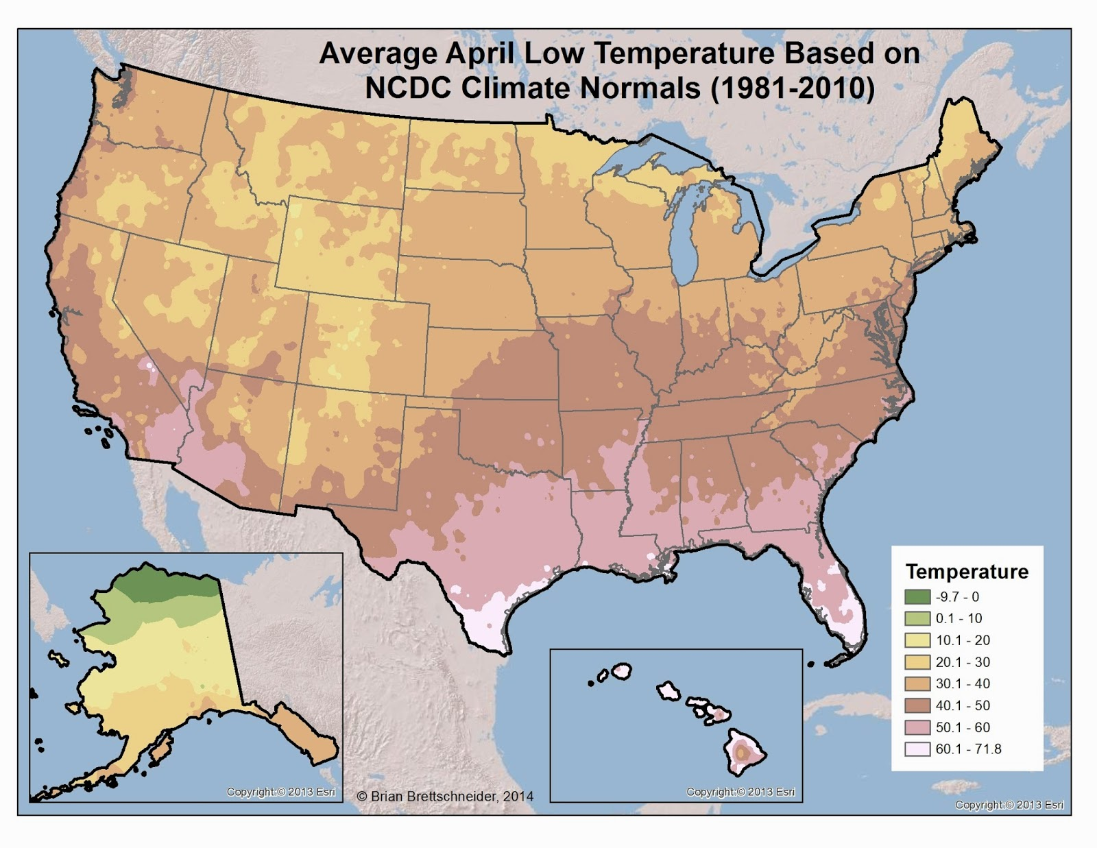 Brian Bs Climate Blog March - Us map with high and low temperatures