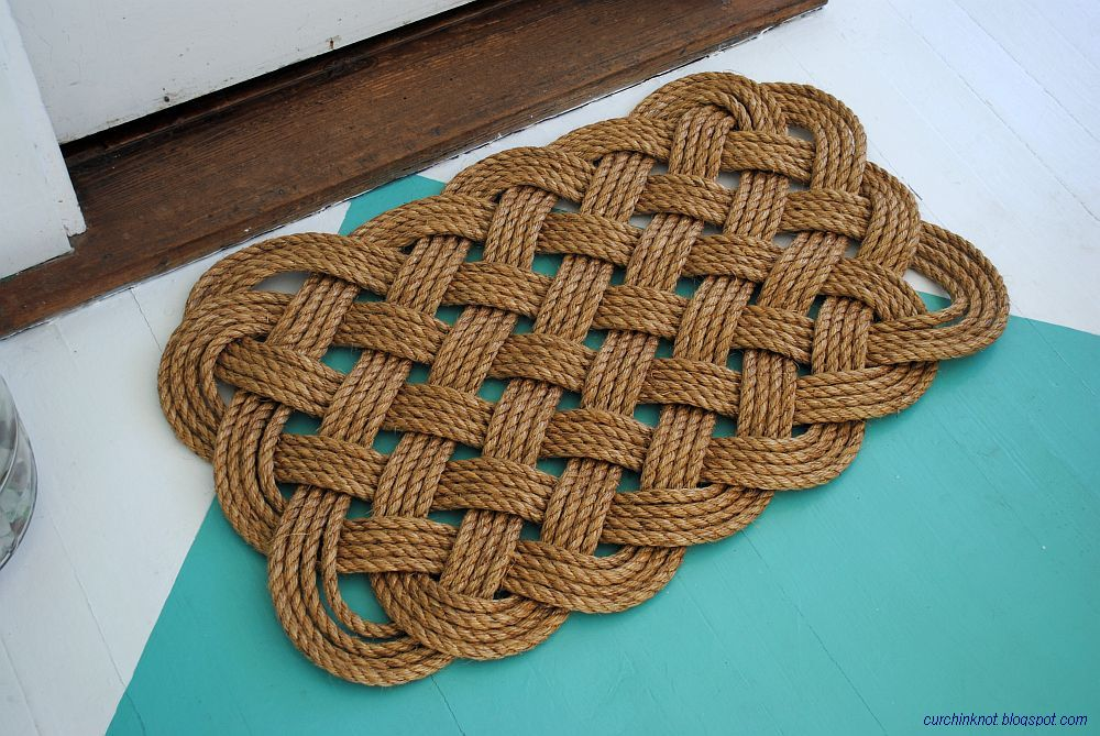 curchin knot rope door mat