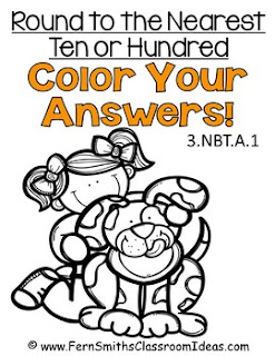 Fern Smith's Classroom Ideas Rounding to the Nearest Ten or Hundred - Color Your Answers Printables