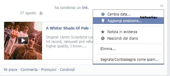 Pubblicazione Luogo Facebook