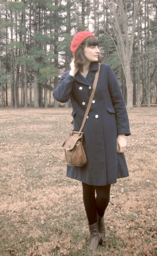 70s or 80s wool coat, satchel bag