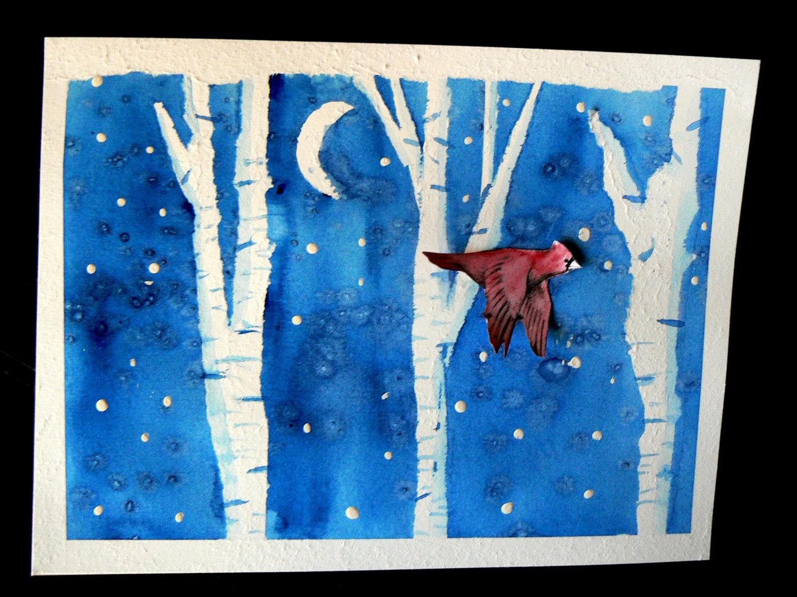 having fun at home snowy evening watercolor resist
