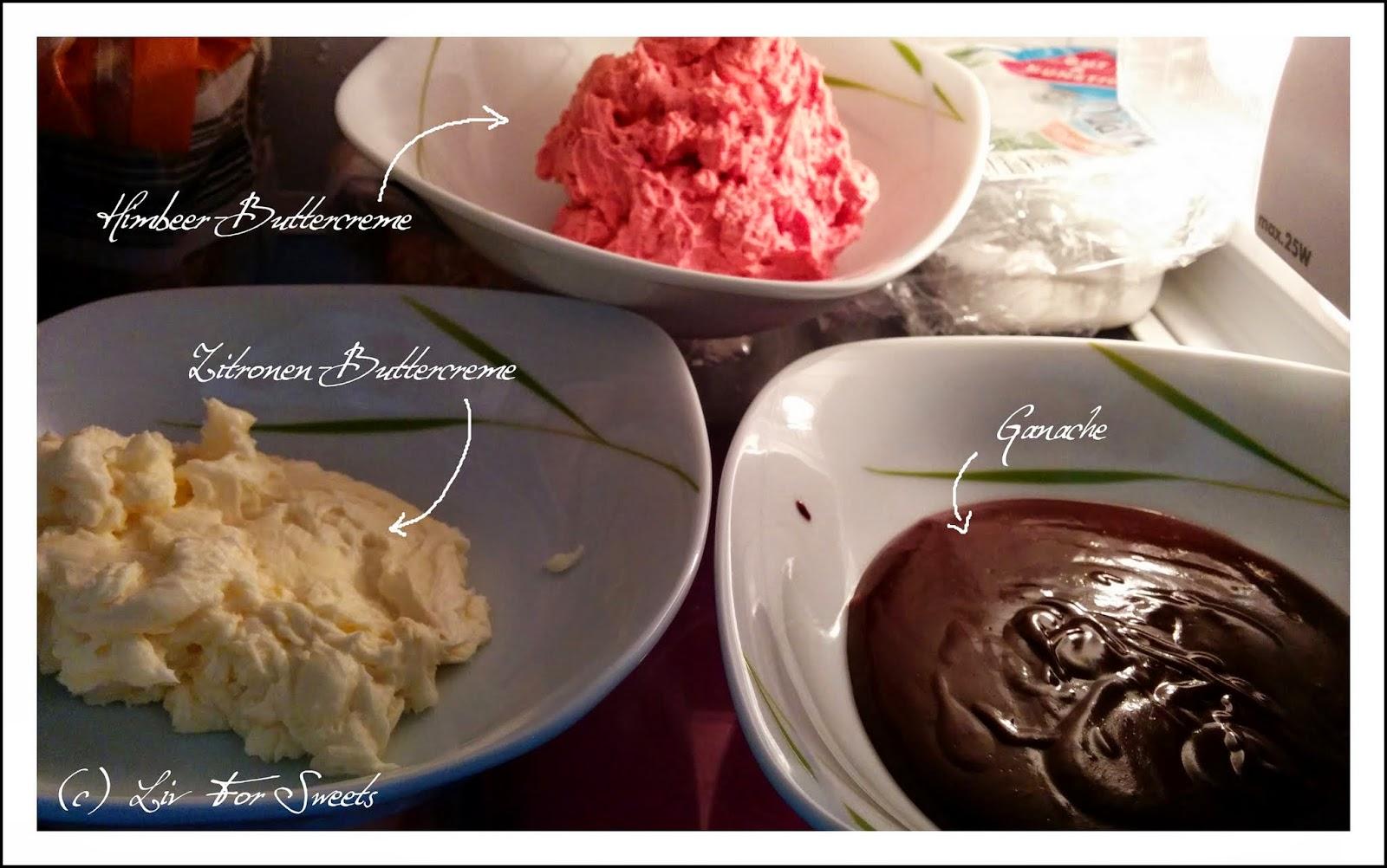 Füllung für die Macarons, Himbeer-Buttercreme, Zitronen-Buttercreme und Ganache