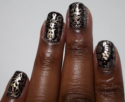 Nail Stamping Manicure featuring Messy Mansion Bridal Collection Plate 04