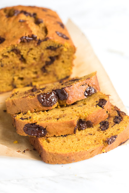 orange scented pumpkin bread packed with chocolate