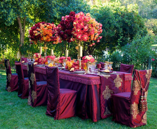 Jewel tone color table setting asian wedding ideas for Asian wedding decoration