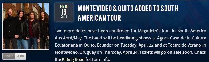 Anuncio Megadeth Ecuador