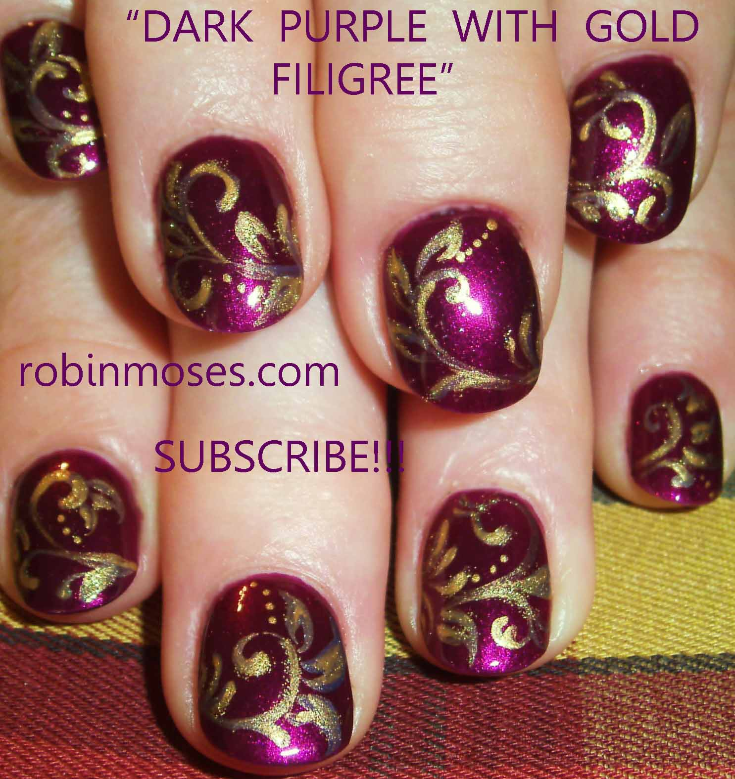 - Purple And Gold Nail Designs