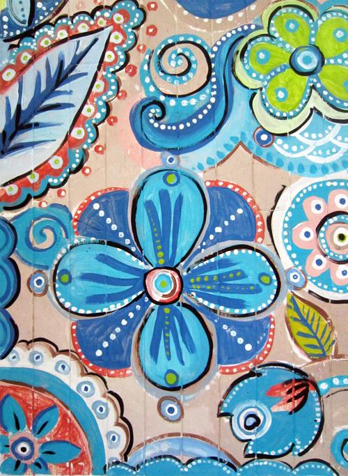 suelo pintado con efecto mosaico diy