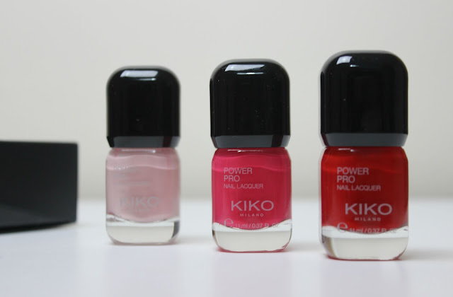 A picture of KIKO Power Pro Nail Lacquer in 02 Camellia, 12 Fuchsia and 13 Red