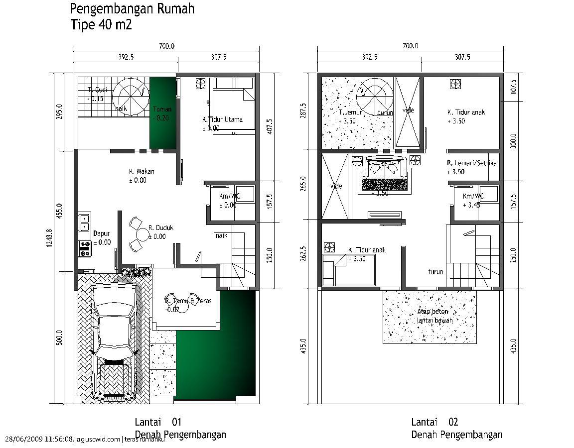 contoh denah rumah minimalis 3 kamar tidur 2 dan 1 lantai