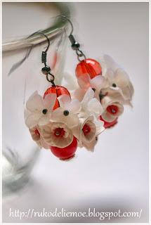 Серёжки из пластики - цветы