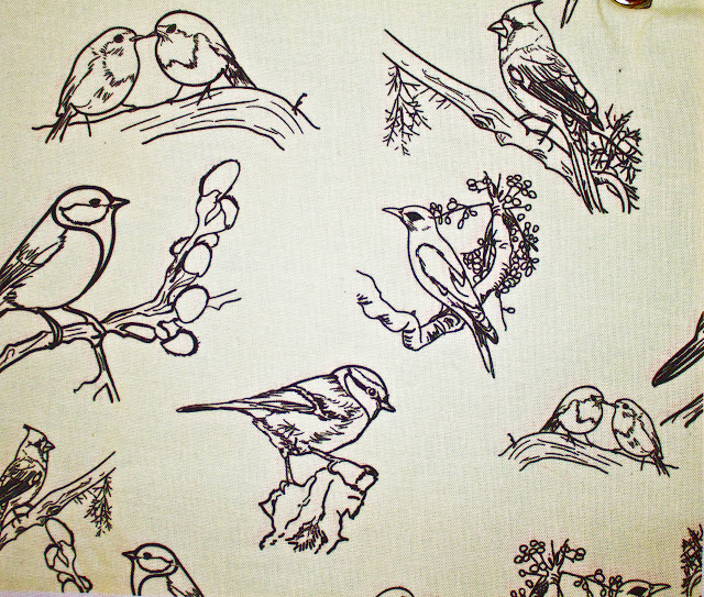 toile, designer fabric, costume textile, birds, design, cream and black