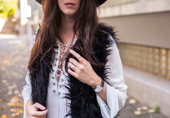 Outfit: lace up top, shaggy faux fur