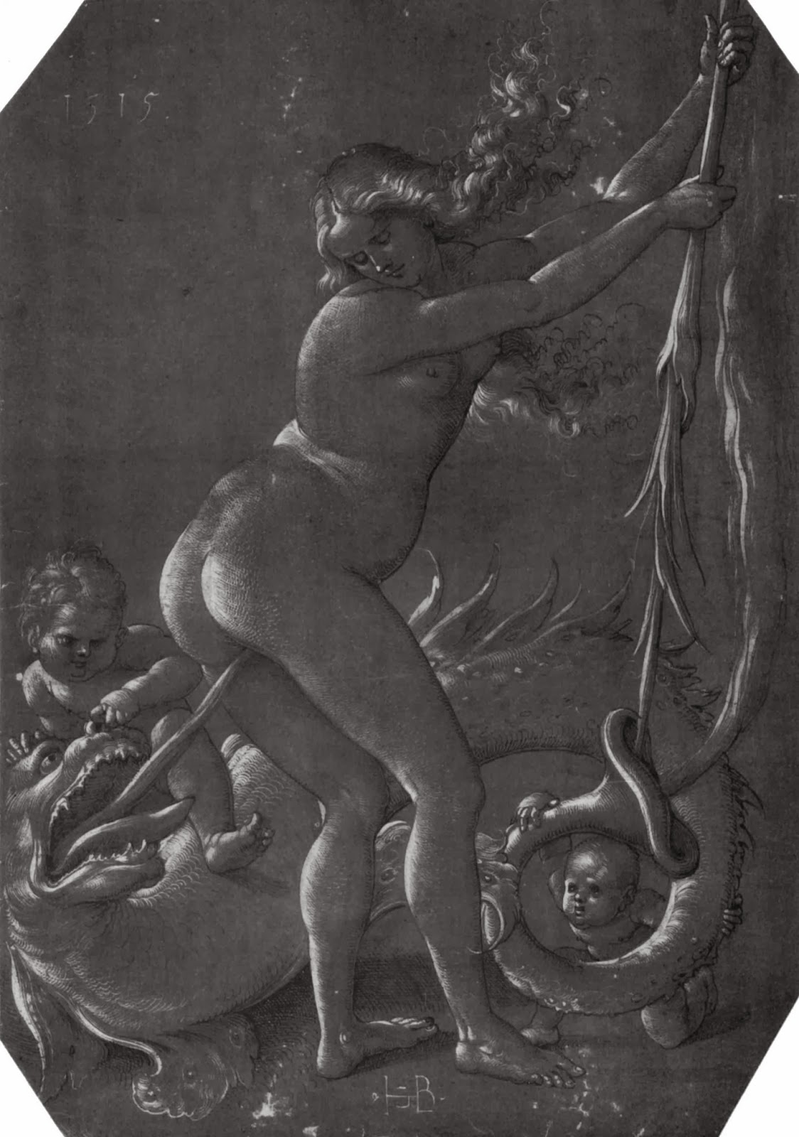 """Standing Witch With Monster"" Hans Baldung (1515), engraving, devil sticking his tongue in a witche's crotch, suggestion of witches masturbating with hallucinogens, medieval witches"