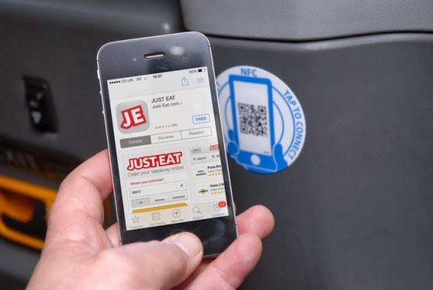 Just Eat's in-taxi app