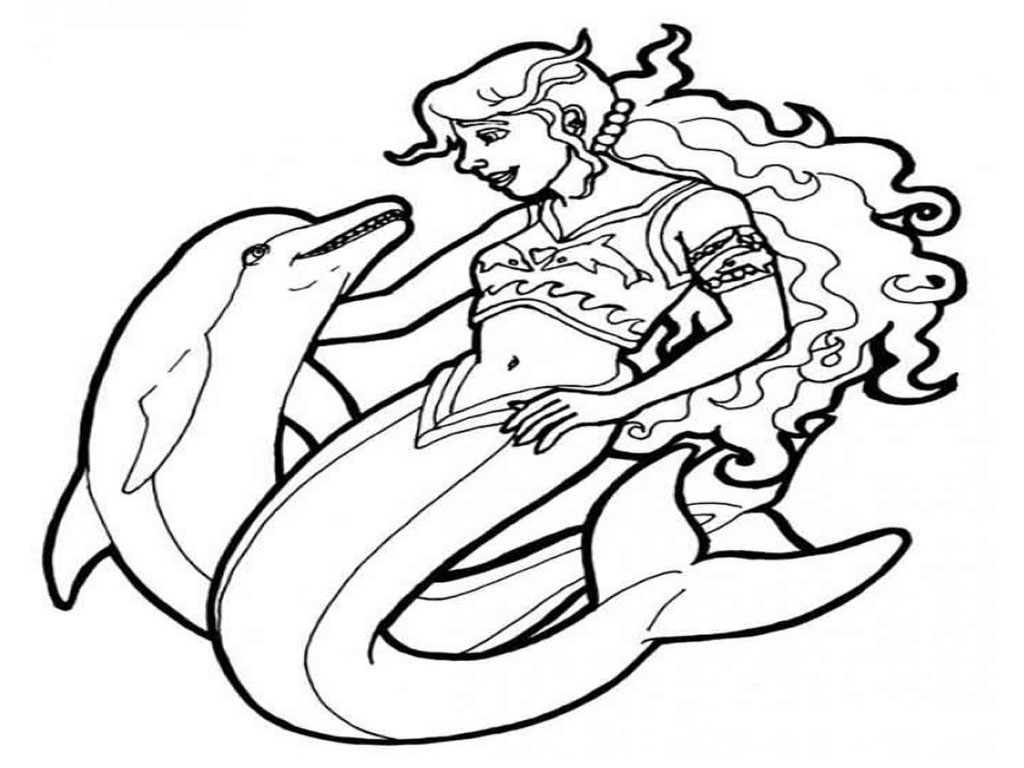 mermaid and dolphin coloring pages - photo#26