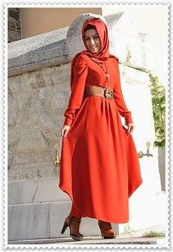 Pınar Şems Turuncu Tesettür Elbise (Almanya)