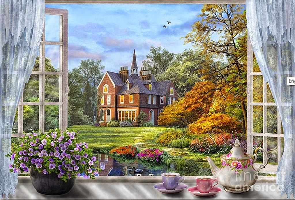 pinturas-al -oleo de-ventanas-con-flores