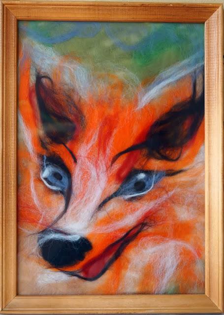 Лиса, картина шерстью, пушистая акварель