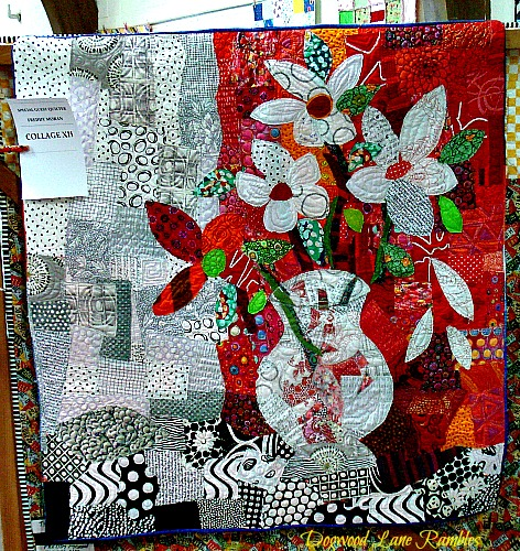 flower vase collage quilt Freddy Moran