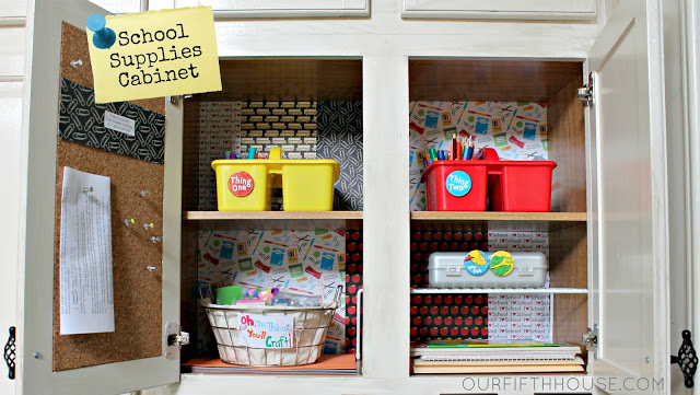Back to School Organization - Create a School Supplies Cabinet