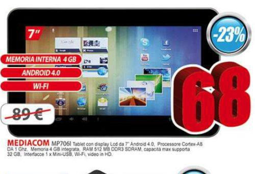 A soli 68 euro venduto un tablet di fascia bassa Mediacom con sistema operativo android adatto agli utenti nuovi che vogliono spendere poco