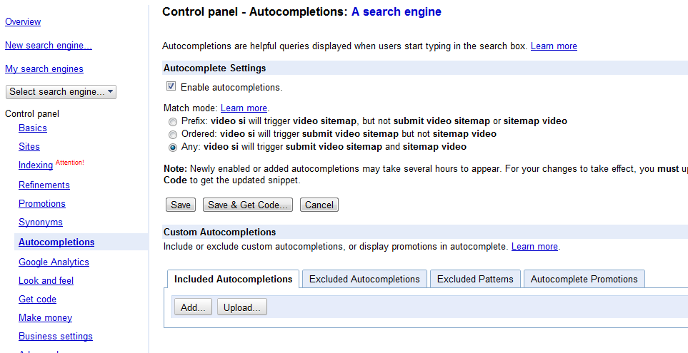 auto completion in Google Custom Search
