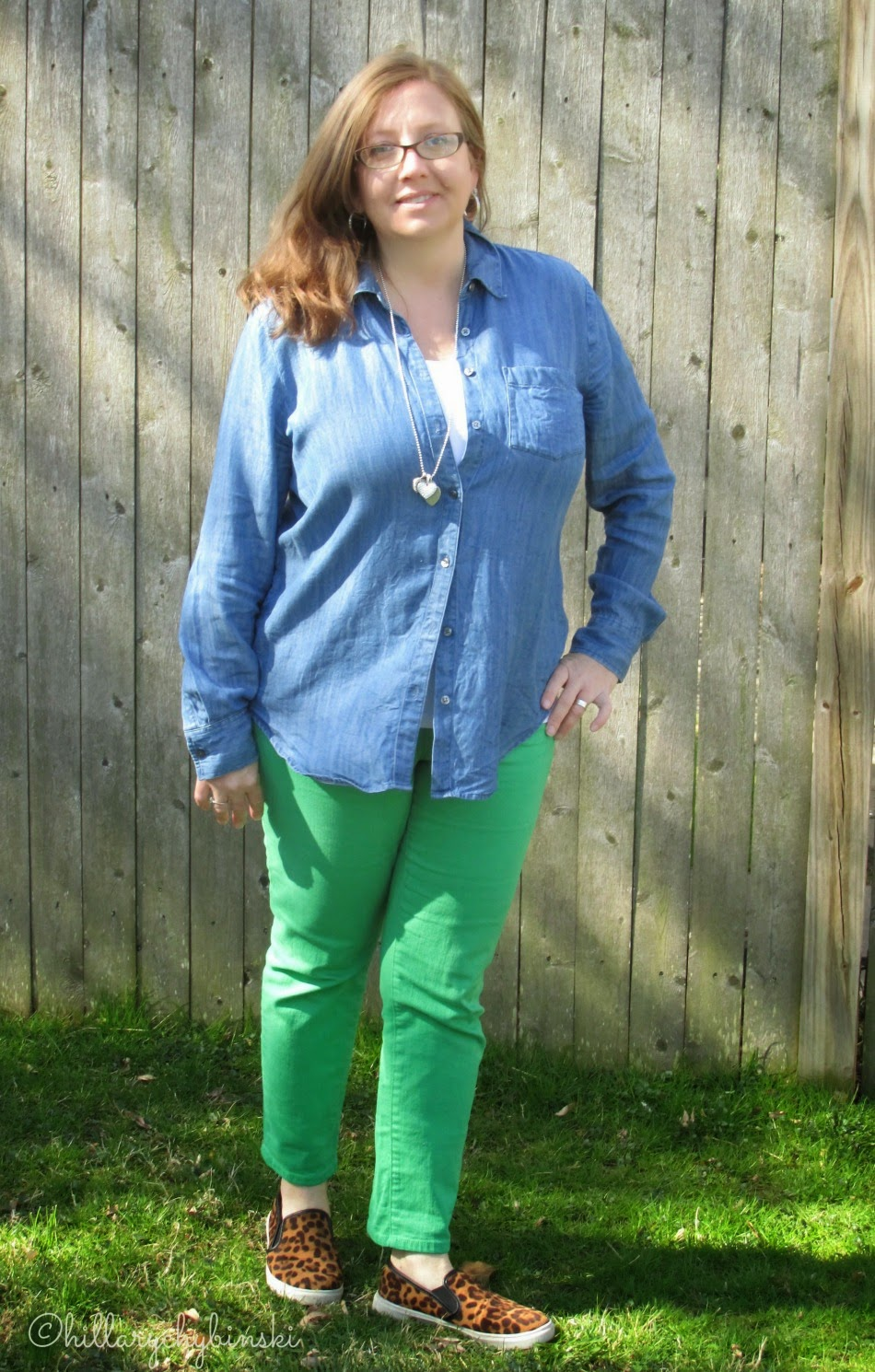 Colored Jeans Styled for Spring - Green Jeans with a Denim Top