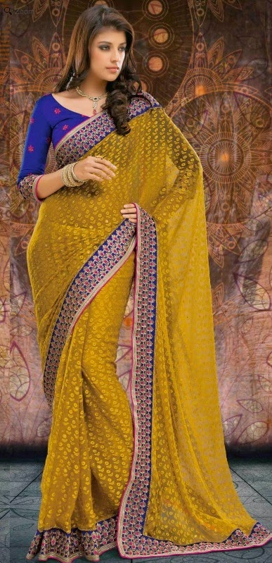 Brasso Mehendi Designer Embroidery Saree with Unstitched Blouse