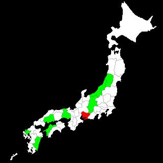 山形、新潟、長野、愛知、兵庫、広島、愛媛、佐賀、宮崎を緑色に塗った日本地図