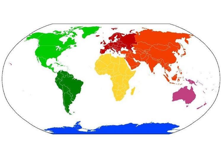 mapa del mundo paises. Mapa de los Continentes