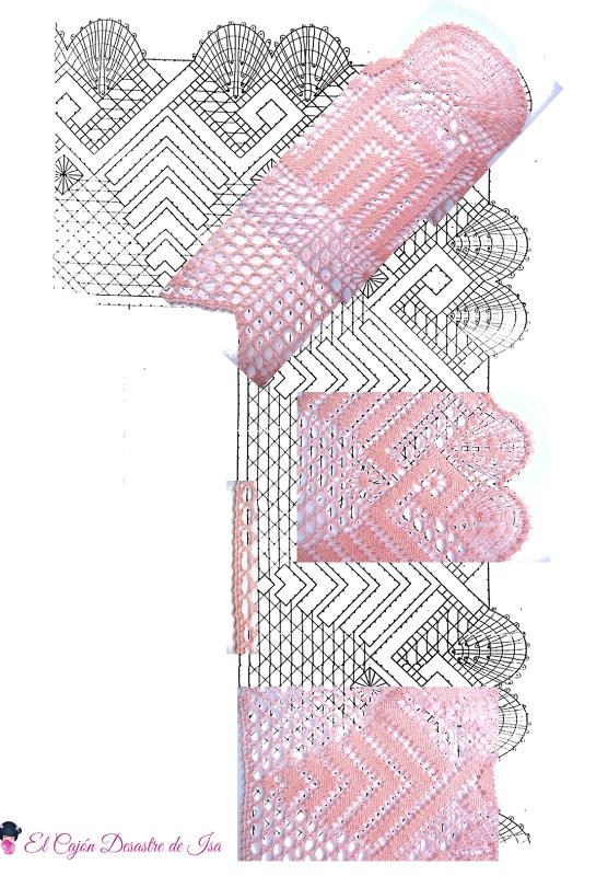 fotomontaje sobre esquema-picado puntilla con esquina de encaje de bolillos número 2 de pie, punto de París, punto de tejido, arañas y trenzas de 4 cabos