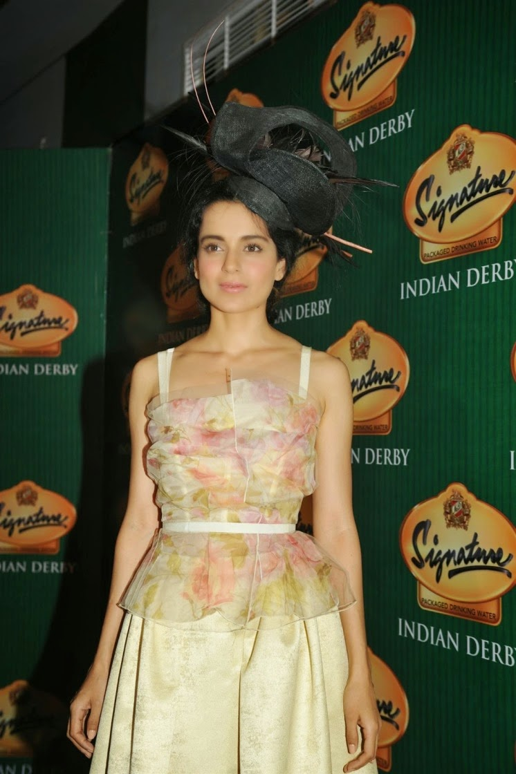 Actress Kangna Ranaut Latest Cute Hot Spicy Photos Gallery At The McDowell Signature Indian Derby In Mumbai