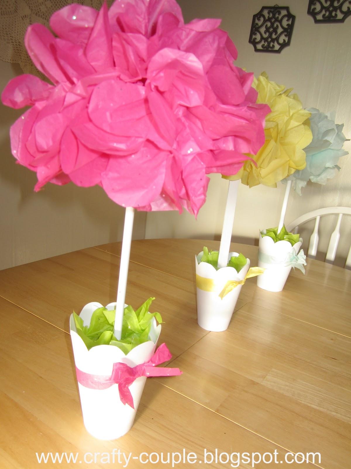 Crafty Couple Tissue Paper Pom Pom Topiary