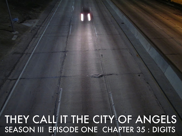 "CHAPTER 35  / SEASON THREE / EPISODE ONE   Each Chapter is Written By Joshua Triliegi in a 24 Hour Period without Prior Notes.  All Chapters in Episode One were written between July 20th 2015 and July 28th 2015   CHAPTER 35 : DIGITS   Within minutes of entering America, Junior was dead and he didn't even know it. He had been directed to follow a diesel truck trailer, while a duplicate of his car was to distract his police escorts who were meant to get him to a hospital, so that an emergency operation could reattach his thumb. When the duplicate vehicle appeared, Junior dropped back behind the eighteen wheeler with a rolling ramp and drove his car up into the trailer. While his duplicate played decoy on into the hospital an unexpected event occurred.  Before crossing the border from Baja into the States, an armed carload of 'exporters' shot their way through the border and drove up into America on the wrong side of the freeway, while Juniors escorted decoy had been exiting the freeway, on the overpass above, the runaway car, heading due north drove head on toward a south bound diesel truck that swerved off the upper level, flipped in mid air and landed directly onto Juniors decoy, entirely crushing the vehicle into an even rectangle of metal, the car looked as if it had been compacted by a machine at the auto wreckage yard. Whoever the driver had been, was entirely unidentifiable, there were absolutely no distinguishing marks to even survey, he had been flattened, not mangled. It was a strangely hermetic accident, blood had oozed from either side of what had once been a car door, but now looked like a suitcase with wheels, though, even they had buckled and folded inward on impact. For all official purposes, Junior was dead before arrival. In reality, he was actually sitting in his car, which was lodged in the back of a diesel truck that was now driving due east. His thumb sat wrapped in a shirt atop the dashboard, while his hand was soaking in a bucket of ice, he had made it across the border alive and was deep in shock. Having never actually looked under the back seat after he had the upholstering re-done, under the orders of his employers, and now that the goal to reenter America had been achieved, curiosity had got the best of him. He opened the door and the ceiling light illuminated the interior enough for him to lift the back seat with his one good hand, there, wrapped in a vacuum sealed plastic cover, was an ancient piece of fabric displaying the image of a man that appeared to be the man known as Jesus the christ. Junior didn't know what to believe, his entire journey had all been entirely unexpected. He had returned to his homeland to spend time with his father, to see the family ranch and to meet with the old Indian and now all that too had presented unexpected results. Would his life never return to some semblance of normalcy, he wondered ?       That is when he noticed the light emanating from the trunk. He re-lodged the back seat cover and there was just enough space between the interior wall of the diesel trailer and the drivers side door, to walk to the back of the car. The trunk had been broken into when Junior had been lured into helping the group of men raise the tower bell in the Plaza Park, just south of Boulevard Revolution. He now assumed that the entire event was a ploy to distract his entering America with the current contents of his back seat, but when he opened the trunk and lifted a blanket, he discovered that he was in a world of trouble, deceit and misery, much larger than he could ever have expected. There under the blanket sat more paper currency than he had ever seen in his life, stacked, sealed and organized in a giant block, next to that was an equally daunting object that scared the living daylights out of the man, something he would never have expected, something he had been promised would never ever be a part of his employment, something he abhorred more than death itself, the very thing that had ruined more lives and created more misery and devastated more men than Junior cared to recount. How many times had he watched men slowly dissolve into nothing ? How many times had he heard about so and so being found dead on the streets ? How many times had he watched as his fellow inmates writhed in pain and in total out and out torturous conditions turning this way and that for hours on end as if they were lizards who had lost a tail, squirming, screaming, moaning, begging, sweating it out while the guards walked by and chuckled ? How many times had he wondered what life for him, his friends, his relatives and even the world would have been like without the very thing he was staring in the face ? How was it that he, Junior, a simple man, could possibly be carrying a most sacred object known to believers across the entire world and also have in his possession the substance that was possibly the very worst and most disgusting element ever invented ?  A substance so vile, so despicable, so ruining, so demonic that through the years he had actually thought of this substance as, and there was no other way to put it: The devil himself. There in several blocks of transparent material was the purest of the pure, the worst and above all evilest thing Junior had ever know existed. If the natural shock that occurred from losing a thumb, just less than an hour ago had provided a buffer between him and his feelings, creating a comfort zone, sedating his body and mind from the pain, blocking the nervous system from excruciating and jolting physical effects, all that had abruptly ended: Junior woke up. He tied a rope from trunk to bumper and waited for whatever was next, he knew whatever it was, that his life would never be the same again.      An hour passed and Junior noticed that diesel truck must have pulled off the freeway and onto a smaller street or road, when it came to a stop, he heard the driver unhitch the trailer from the cab and then the cab pulled away. He stepped to the back of the trailer and noticed a double latch that opened from the inside, not knowing what to expect, he grabbed his thumb from the dashboard, tucked in his shirt and slid the dismembered finger down the front, with his one good hand, he grabbed a blackjack from the back seat and slowly and quietly attempted to lift the door to the trailer. As he did so, he realized he was alone, in pitch darkness, he jumped from the trailer and there to the North he noticed a brightly lit cinder block cube of a building. Junior was now out and out frightened. He had been scared, he had been fearful, but he had never actually been frightened before and somewhere in his constitution, somewhere in his make up, some where in his fortitude, he found something of himself that was new territory and now he knew there was no turning back. He walked back up one of the small narrow wheeled metal perforated ramps that followed the trailer, he unhinged the rope to the trunk, opened an old tool box and found a padlock that he had once used to secure his locker in junior high school. Junior silently pulled the trailer door shut and walked toward the brightly lit building in the middle of what felt like an abandoned army base in the middle of the desert. There were no signs out front, but when he looked inside, it was clearly a medical facility, with a flat-topped front desk attendant and several nurses dressed in scrubs and operating garb. He could see no patients, he could see no security guards, if he wanted to keep his thumb, he had no choice whatsoever, except to simply walk into the place, and as  he did, the attendant, who was youngish, clean shaven, clear eyed, simply said, ""We have been expecting you sir."" Junior just looked at the man. ""Due to the dire situation, there will be no forms to fill, we are ready to take care of you now."" A nurse walked up and asked for the missing finger. Junior, who had shed not a single tear throughout his entire ordeal, reached into his shirt front and handed the girl his thumb. His eyes watered, he took a deep breath, looked around the facility and decided that whatever the hell was going on, first and foremost, he wanted five digits on each hand and so, he sat in the lobby and waited for the attendant to make the next move. The nurse unwrapped the finger, laid it out onto a stainless steel tray and stared at the object for what seemed like a very long time, then she abruptly, looked up at Junior and exclaimed, ""Believe it or not, you are a very lucky man."" The attendant smiled and called for the patient to be admitted.     Junior had refused to be put to sleep, the operation lasted almost eighteen hours and he slept through much of the operation. He had now been wheeled into a room with a window facing the trailer which could barley be seen in the now two a.m. moonlight. Several bottles of medication sat on the table to his left, his keys and the contents of his pockets had been put into a small basket, his pants had been washed and folded, his shirt and socks had been replaced, the blood that had poured from his hand had been washed clean from his shoes and he was the only person in the room. His hand was wrapped in gauze and an aluminum stripped device protected it from any possible damage. Junior began to review the series of events that had preceded his accident. The first call he had made to his people prior to leaving the US all had seemed appropriate and valid, the voice seemed to be the usual, the directions, the action, the procedural aspects all in line with a familiar tone, but the second call, made from the Bull fight arena, there was now something definitely wrong with that call. He couldn't quite focus on exactly what it was, but something was askew. The voice was just a little different, the change of plans seemed totally out of place, the entire directive was not at all in line with a protocol that he now could put together in a cohesive way. Junior had always been promised that under no circumstances whatsoever would he ever have to come into contact with the substance that was now sitting in his trunk.  Nor was he ever asked to be put in a position of ever returning to prison without proper warning of the assignment up front. Either he had clearly been lied to, or someone redirected, intercepted or tapped his conversation and interjected or straight out impersonated someone from his organization. There was a third possibility, but he didn't even want to think about that. The only way to find out, was to head north, enter the harbor and find out for himself. Junior quietly put on his clothes, shoved the bottles of medicine in his front pockets, opened the sliding glass window, jumped out and walked into the cold dark night. He fumbled with the combination lock, could not for the life of him remember the numbers, finally giving up, simply bashed the thing with a rock, slid the door upward, backed the car down the ramp and drove down the moon lit dirt road with no lights on for over half a mile, when he could no longer see the facility in the distance, he turned on his lights and headed toward civilization, if you could call it that. On the way out, he passed several burnt out bunkers, defunct check points and now wireless radio towers. It was a ghost town and Junior still had no idea that, officially, he did not exist.     By the time Junior drove into the Harbor, it was just past four in the morning, for the obvious reasons, he neither went home, nor did he go directly to meet his so-called people. He had been racking his brain while driving and still had not come up with any true or obvious conclusions. Having not eaten in over twenty-four hours, he needed a cup of coffee, he had to figure this out and found himself driving in the direction of Ma' Fritters Coffeehouse, where his father, Louis had been a busboy all those years. It was absurd for him to fathom the fact that, in less than a week, he had actually repositioned his father on the family ranch and been through what seemed like a lifetime. He parked the car a half a block away, positioned it so that he could see it front and back and was pleased that the waitress, nor the busboy recognized him as Louis' son. He ordered breakfast and as was the tradition, the waitress brought over the days paper. Junior, who had gotten in the habit of voraciously reading anything and everything, while in the joint, turned the page of the metro section and there, near the bottom, was a small article that had an extremely familiar image, it was a picture of him, taken a few years back by prison officials, the headline read: Recently Released Ex-con Dies in Auto Accident. The article described the events at the border, the fishing accident cover story, the visit with relatives and the actual accident on the way to the hospital. Now Junior knew that possibility number three was more than likely. He left a ten dollar bill on the table and walked. It was still before five, fog covered the streets. Junior made a decision. He drove up to the home of his  brother in law Chuck and his sister Celia's through the alleyway, opened the garage door, where Chuck kept his sunday car, a completely restored woody station wagon and unloaded the contents of the trunk into Chucks wagon: the money and the drugs. Than he quietly closed the garage door and drove four blocks east to a storage facility parking lot that housed old boats, cars and rental units for storage. He pulled his car onto the lot, tucked the fabric artifact from beneath the back seat around his torso and threw a tarp from the trunk over his own car, fastening the corners one by one with his good hand. The placed was closed and a security guard sat in the front office. Junior held up a fifty dollar bill, the man slid open the window and accepted the bill, but said nothing. Junior took a hundred dollar bill and an insurance slip that had his plates, his insurance and the vehicle i.d. and pointed to the tarp. ""Put this on the old man's desk."" Again, the man said nothing, took the bill and slip and walked over to the old mans desk. Junior eyed the man's newspaper on the counter, grabbed the metro section and walked out into the fog."