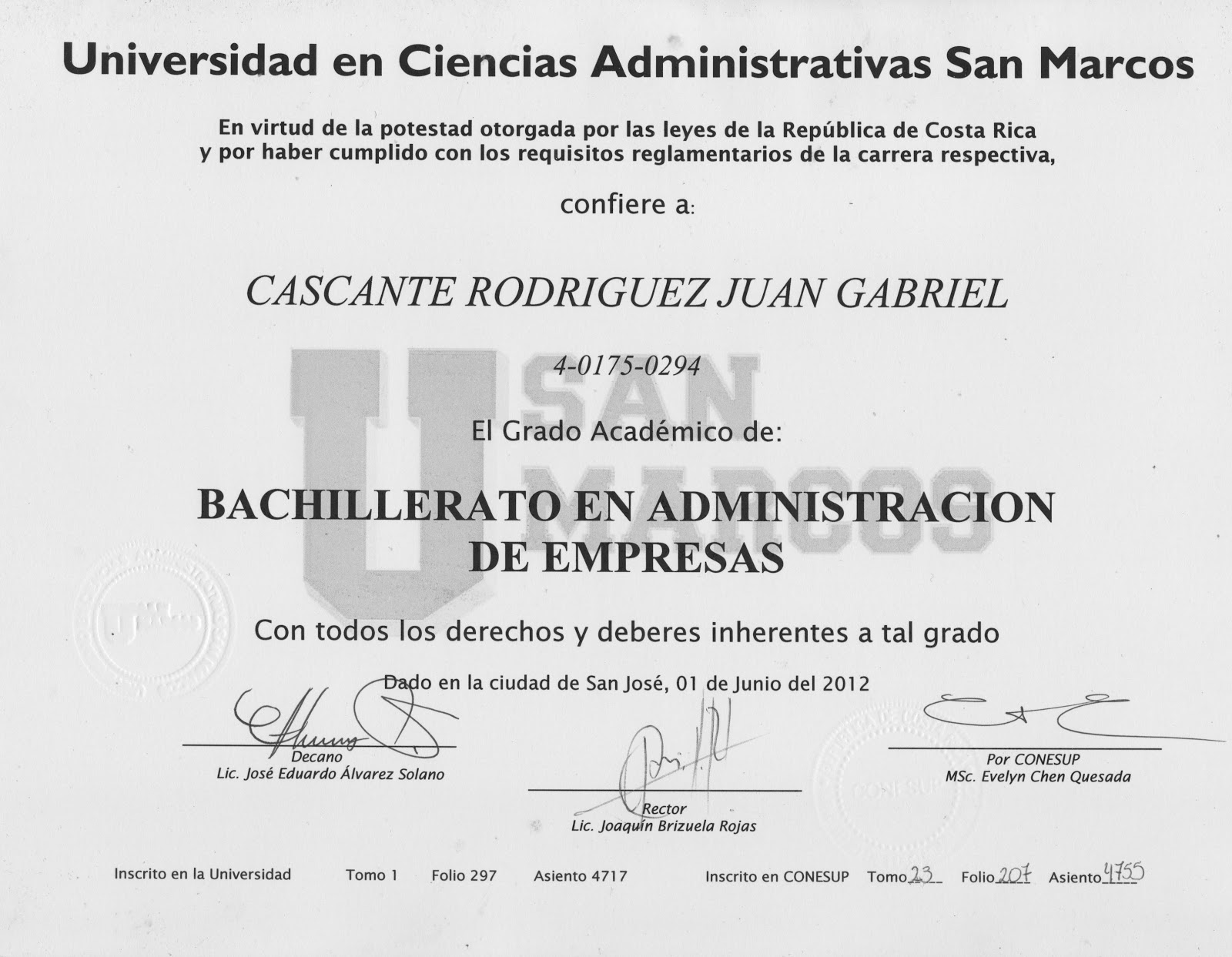 Atestados- | Curriculum Juan Gabriel Cascante Rodríguez. Administrador.