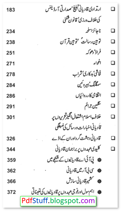 Contents of the Urdu book Qadiyaniat Ek DehshatGard Tanzim
