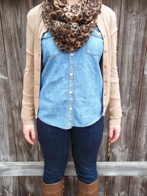 chambray shirt five ways brown cardigan leopard scarf brown riding boots jeans fall transition