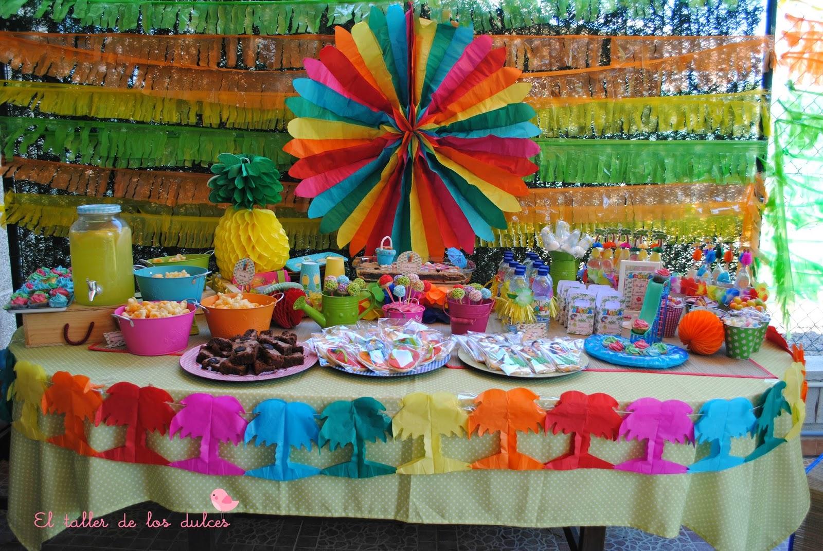 El taller de los dulces gran fiesta hawaina bienvenido - Decoracion mesas fiestas ...