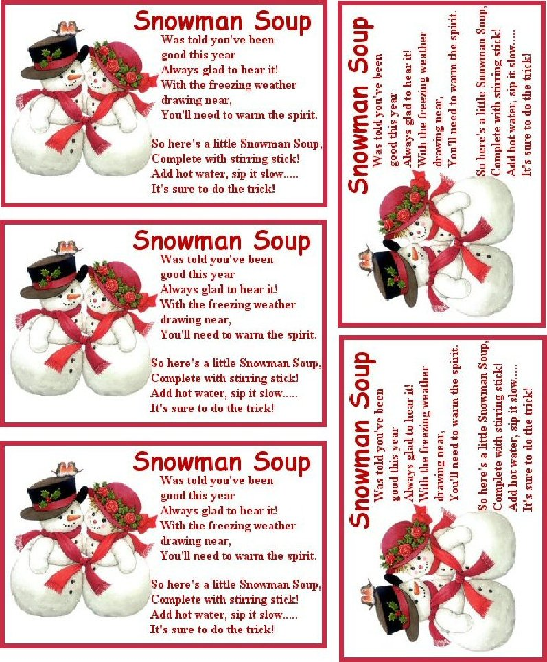 Nerdy image in snowman soup printable tag