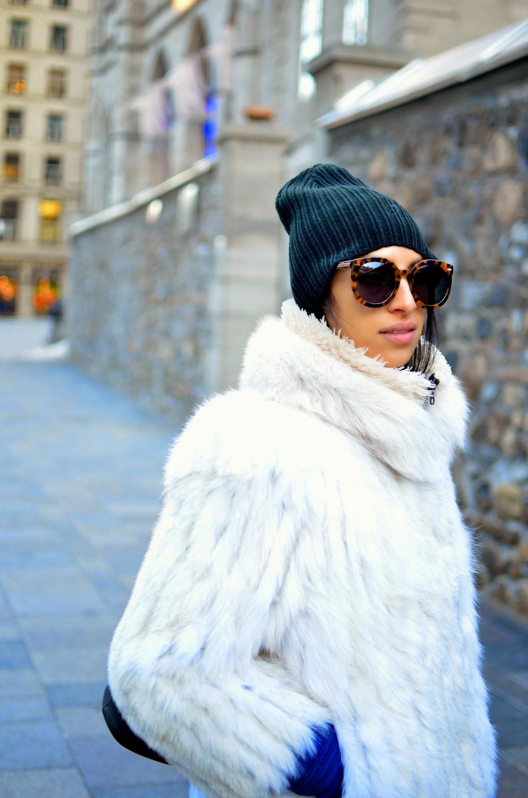 Karen Walker Super sunglasses, winter style, vintage, vintage fur, Montreal, Montreal style