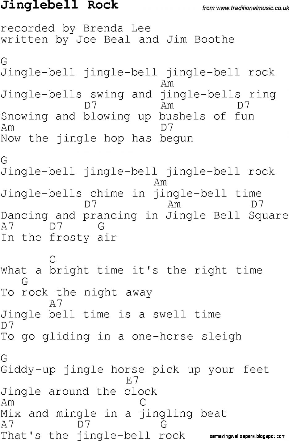 Christmas CarolSong lyrics with chords for Jinglebell Rock