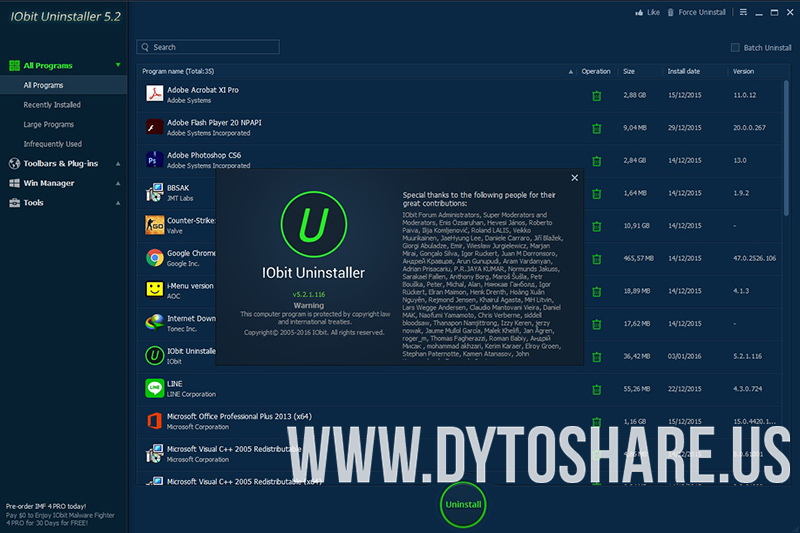 WatFile.com Download Free IObit Uninstaller 5 2 1 116 | DYTOSHARE us - Sharing and Download