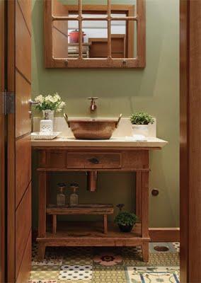 Inspira o para banheiros e lavabos r sticos jeito de - Lavabos vintage ...