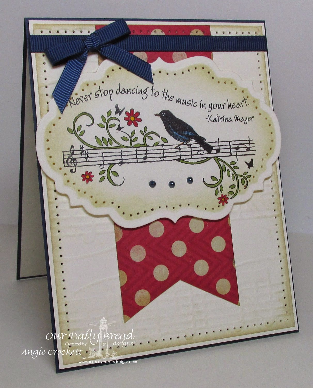 Our Daily Bread designs Music Speaks, ODBD Custom Vintage Labels Dies, Card Designer Angie Crockett