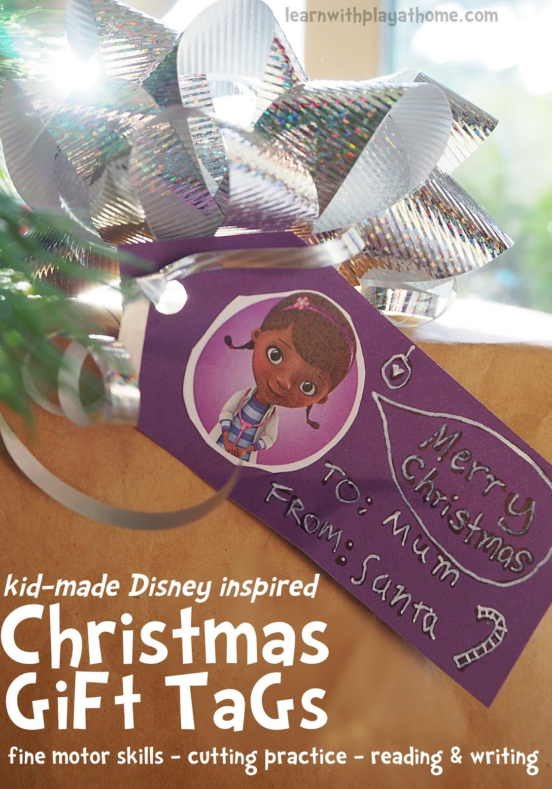 Learn with Play at Home: DIY Disney inspired Christmas Gift-Tags for ...