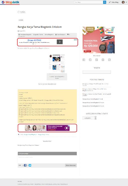 Ilustrasi Trik Memasang Iklan Dalam Posting Pada Blog di Blogdetik - Cratis