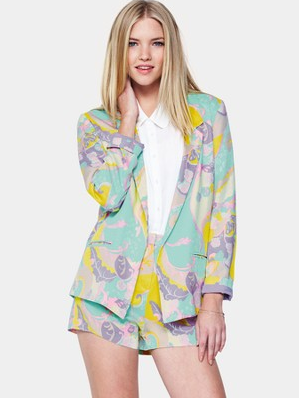 Love Label, Very, Millie Mackintosh, Shorts, Blazer, Suit, Matching, Print, Pastel, Multi-Coloured