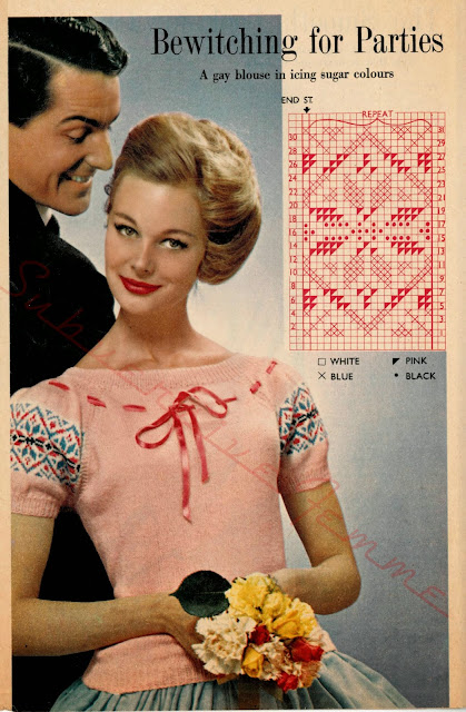 free vintage knitting pattern 1950s 50s blouse